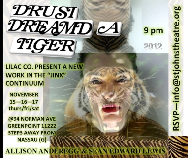 """""""DRUSI DREAMED A TIGER"""" FALL 2012 / 94 NORMAN STOREFRONT SPACE GREENPOINT, BROOKLYN (POSTER ART BY ROBERT STRONG)"""