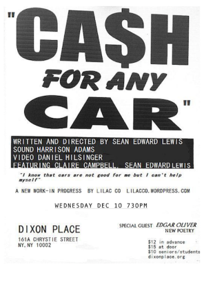 """""""Cash For Any Car"""" Dixon Place, December 2015"""
