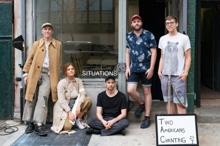 """Sean Lewis, Alex Tabas, Eric Magus, Tyler Mashek """"Two Americans Chanting"""" Situation Gallery 127 Henry Street NY 10002 August 2018 photo by Steven Pisano"""